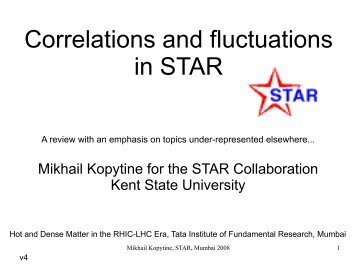 Correlations and fluctuations - Tata Institute of Fundamental Research