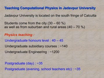 Numerical Analysis in Jadavpur University