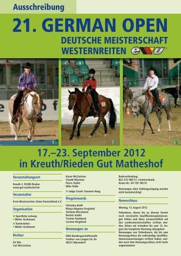 Ausschreibung German Open 2012 - Westernbrueckner.de