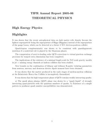 Particle and Nuclear Physics - Department of Theoretical Physics