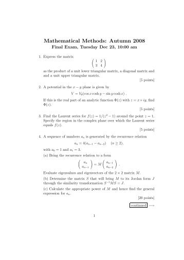 Mathematical Methods: Autumn 2008