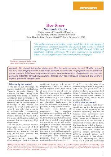 Hot Stuff - Department of Theoretical Physics - Tata Institute of ...