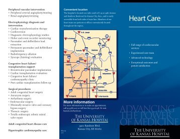 Heart Care Brochure - The University Of Kansas Hospital