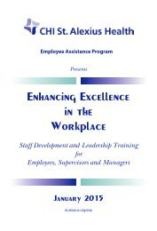 Enhancing Excellence in the North Dakota Workplace - St. Alexius ...