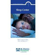 Download Sleep Center Brochure - St. Alexius Medical Center