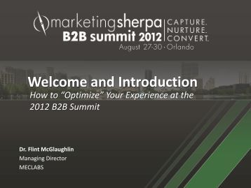 B2B Summit Welcome & Introduction - meclabs