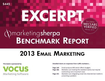 2013 Email Marketing Benchmark Report - MarketingSherpa