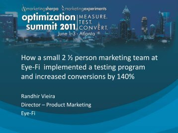 How a small 2 ½ person marketing team at Eye-Fi ... - meclabs