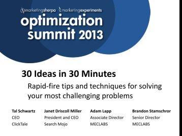 Optimization Summit 2013 - meclabs