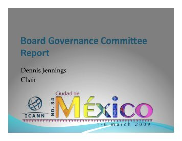 Board Governance Committee Report