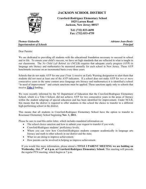 SAMPLE PARENT LETTER - Crawford-Rodriguez Elementary School