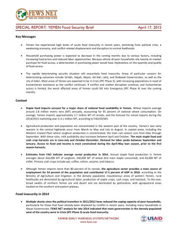 Yemen Food Security Brief - April 17 2015