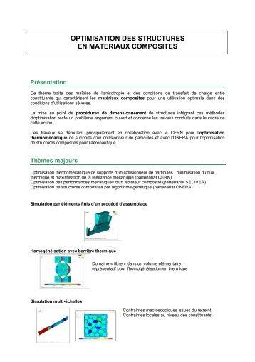 Optimisation de structures en matériaux composites - IFMA