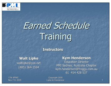 Earned Schedule 'Emerging Practice' Training