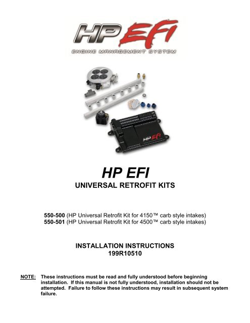 HP EFI - Holley Performance Products