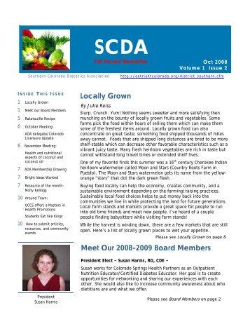 SCDA Fall Newsletter 08 - Colorado Dietetic Association