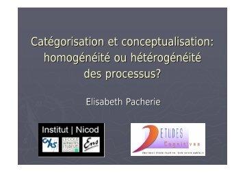Catégorisation et conceptualisation: homogénéité ou ... - Pacherie