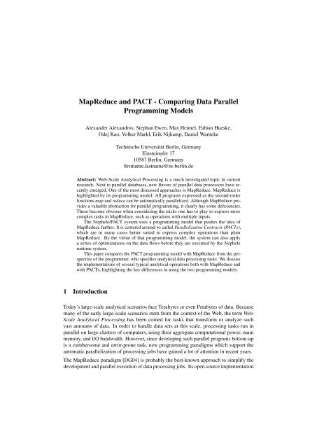 MapReduce and PACT - Comparing Data Parallel     - ResearchGate