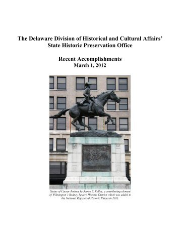 Recent Accomplishments - Delaware Division of Historical and ...