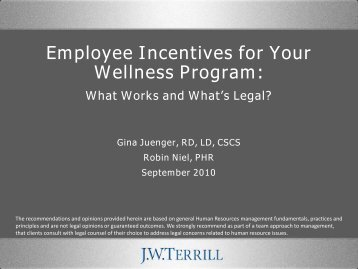 Employee Incentives For Your Wellness Program - JW Terrill