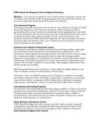 USDA Rural Development Grant Program Summary Mission: