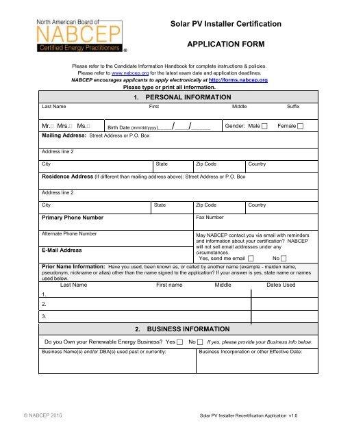 Solar Pv Installer Certification Application Form Nabcep