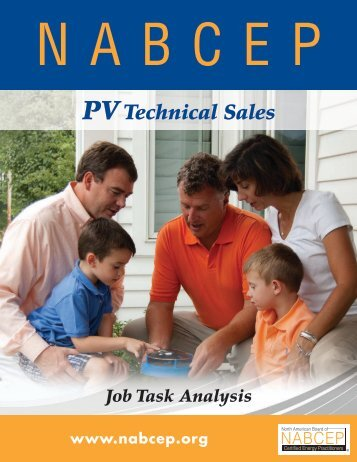 PV Technical Sales Job Task Analysis - nabcep