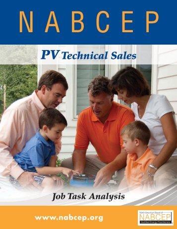 PV Technical Sales Job Task Analysis - nabcep