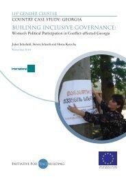 BUILDING INCLUSIVE GOVERNANCE: - Initiative for Peacebuilding