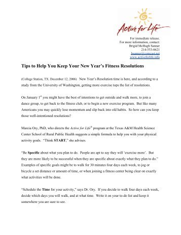 Tips to Help You Keep Your New Year's Fitness ... - Active for Life