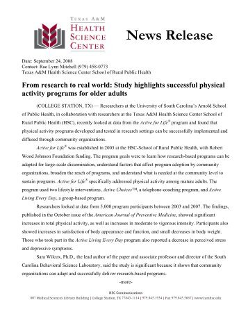 From research to real world: Study highlights ... - Active for Life