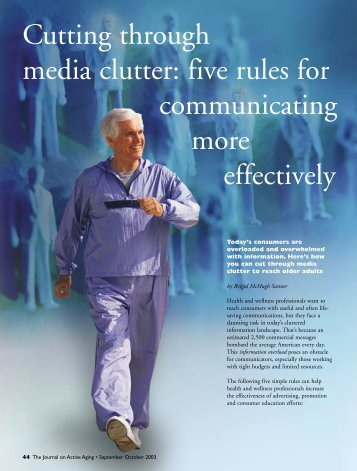 Cutting through media clutter: five rules for ... - Active for Life