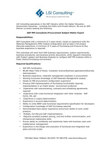 Procure To Pay Resume Sap Consultant