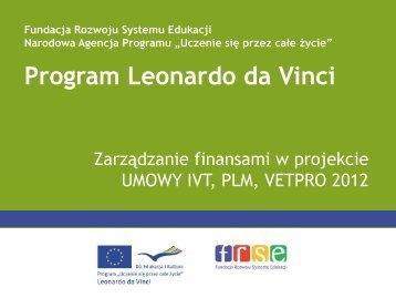 Zarządzanie finansowe projektem 2012 - Leonardo da Vinci