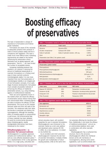 Boosting efficacy of preservatives - ResearchGate