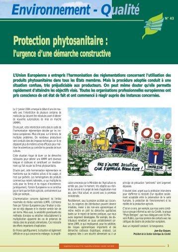 Protection phytosanitaire: l'urgence d'une démarche ... - Cerafel