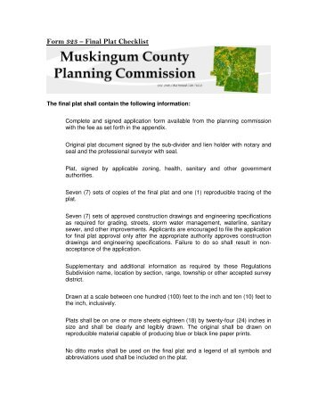 Final Plat Checklist - Planning Commission, Muskingum County, Ohio