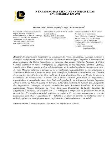 a expansão das ciências naturais e das engenharias em 2001 - UFRJ