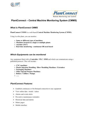PlantConnect – Central Machine Monitoring System (CMMS)