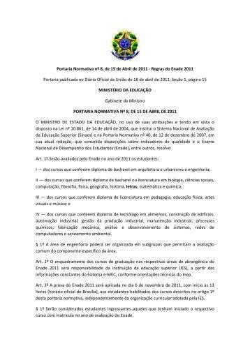 Portaria Normativa nº 8, de 15 de Abril de 2011 - Regras do Enade ...