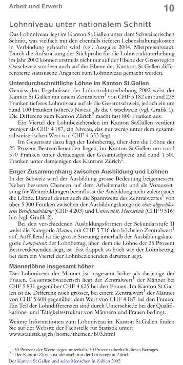 Lohnniveau unter nationalem Schnitt - Öffentliche Statistik Kanton St ...