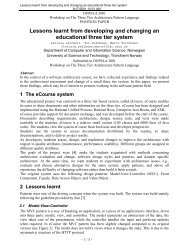 Lessons learnt from developing and changing an ... - POSA 3