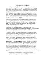 ISO 14001 e Produção Limpa: importantes, porém ... - TECLIM