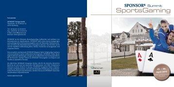 Download Programm - SPONSORs Sports Gaming Summit
