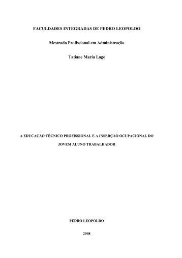 FACULDADES INTEGRADAS DE PEDRO LEOPOLDO Mestrado ...