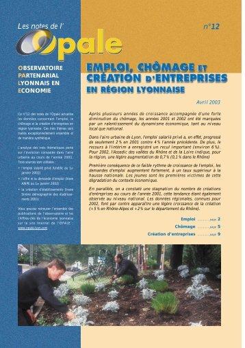 Emploi, chômage et création d'entreprises en région lyonnaise - Opale