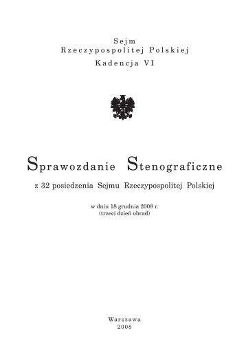 18 grudnia 2008 r. - Sejm Rzeczypospolitej Polskiej