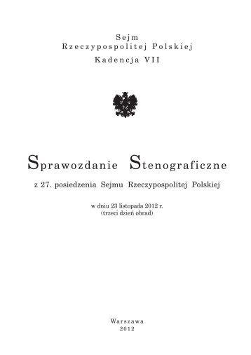 23 listopada 2012 - Sejm Rzeczypospolitej Polskiej