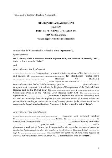 Purchase Agreement Sample Stock Purchase Agreement Form Business