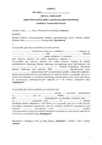 Elektrocarbon Sp. z o.o. - umowa pomiędzy Skarbem Państwa